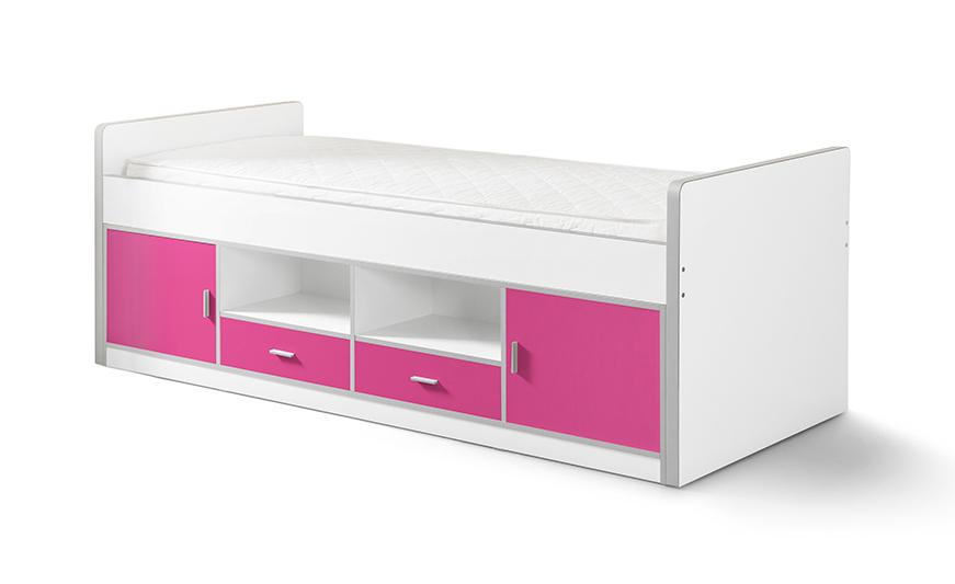 Funktionsbett Nova 90*200 cm Weiß / Pink