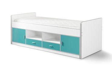 Funktionsbett Nova 90*200 cm Weiß / Türkis