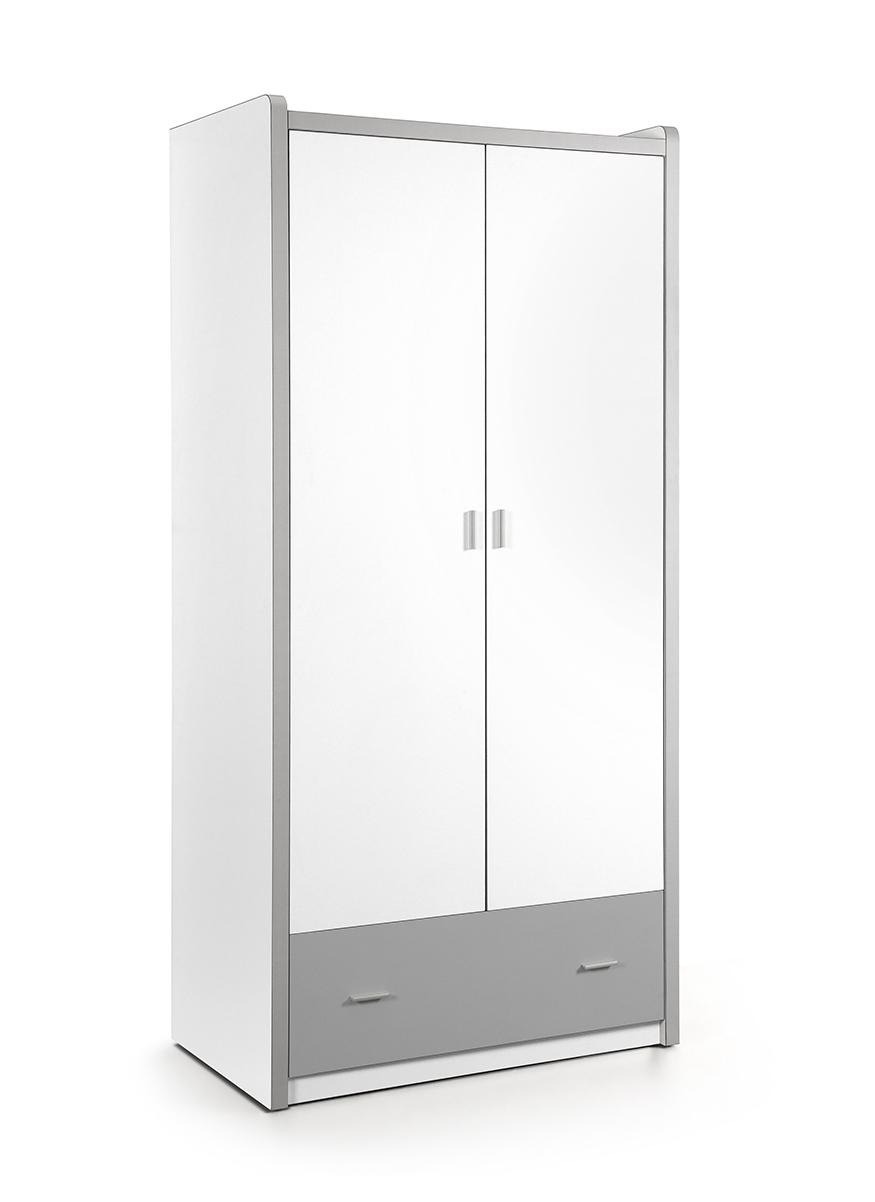 kleiderschrank valerie wei grau 2 t ren b 97 cm kleiderschr nke. Black Bedroom Furniture Sets. Home Design Ideas