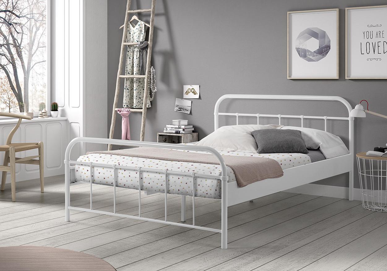 Metallbett 140*200 weiß Jugend Schlafzimmer Doppelbett Bettgestell ...