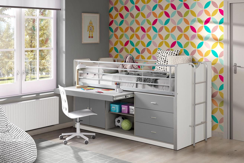 Hochbett Jax weiß / grau inklusive Schreibtisch