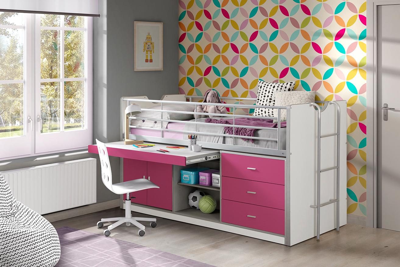 Hochbett Jax weiß / pink inklusive Schreibtisch