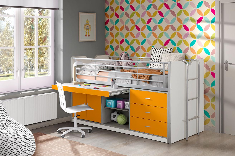 Hochbett Jax weiß / orange inklusive Schreibtisch