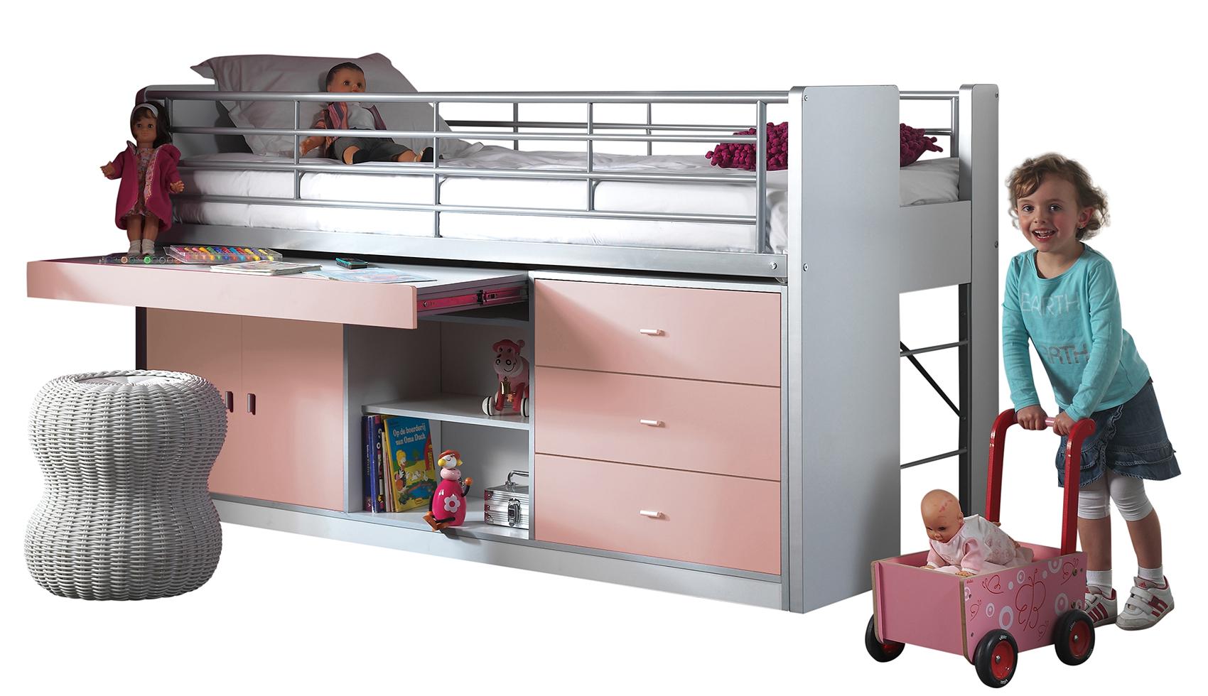 Hochbett Jax weiß / rosa inklusive Schreibtisch