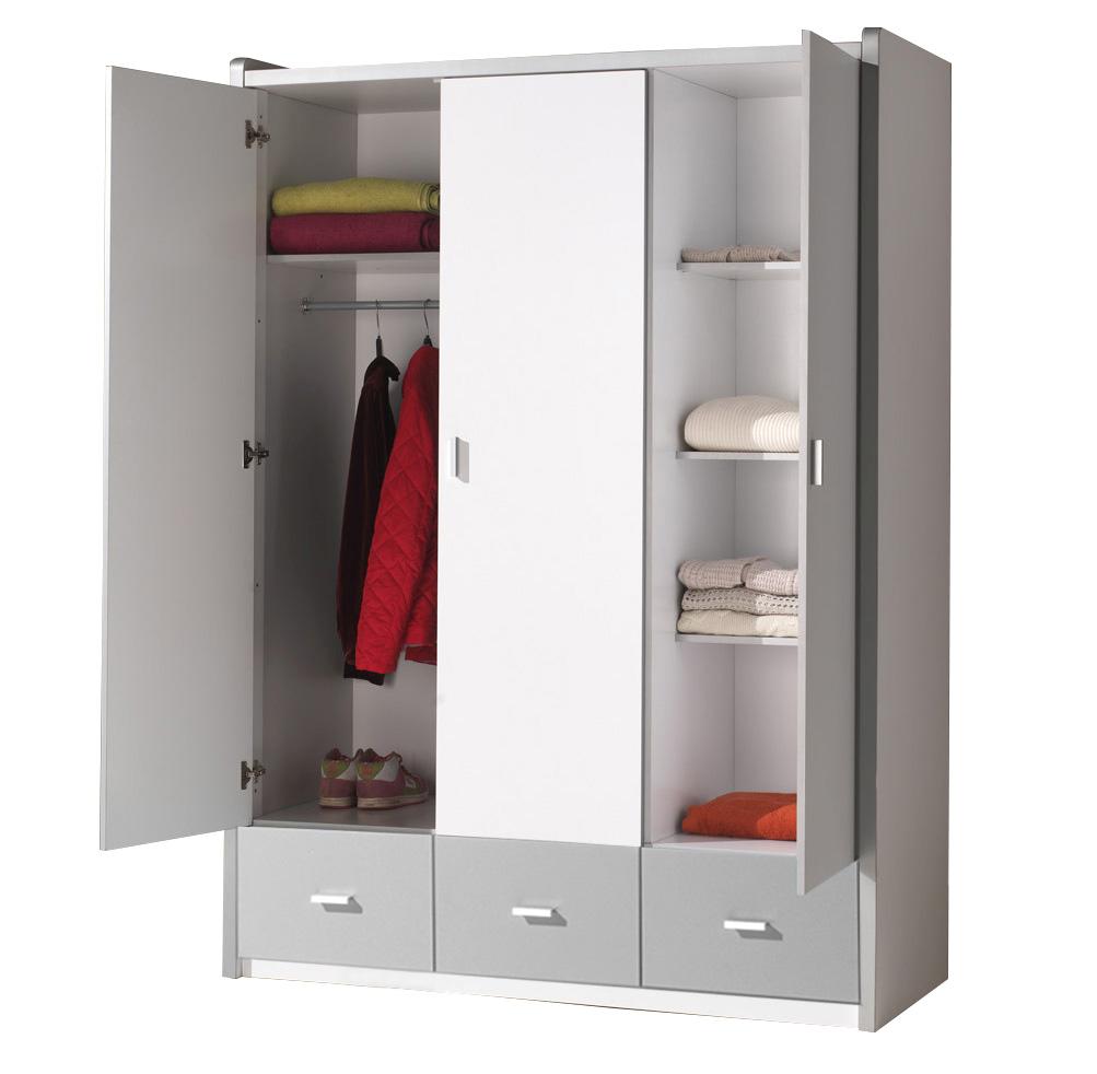 kleiderschrank valerie wei grau 3 t ren b 141 cm kleiderschr nke. Black Bedroom Furniture Sets. Home Design Ideas