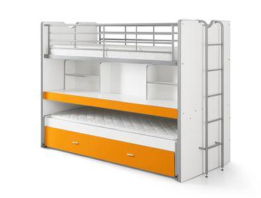 Hochbett Eva weiß / orange inklusive Schreibtisch & Bettkasten