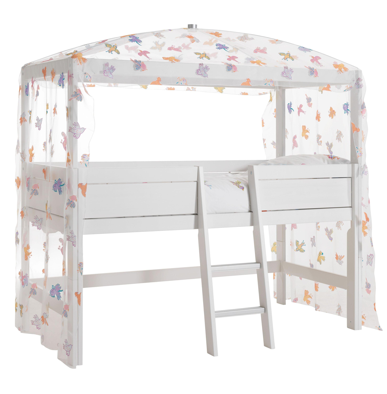 Himmel-Hochbett Freebird 90*200 cm weiß lackiert LIFETIME inklusive Betthimmel-Vorhang und Beleuchtung