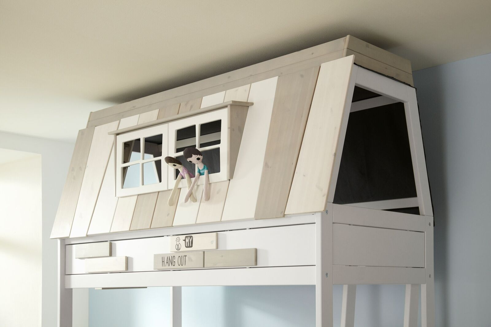 Abenteuerbett Hangout 90*200 cm weiß LIFETIME inklusive Dachkonstruktion