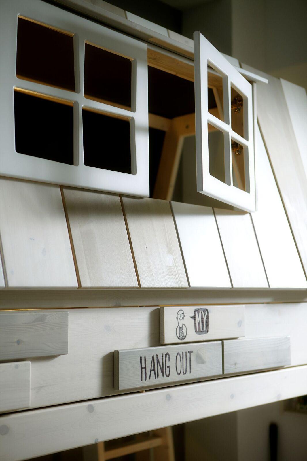 Abenteuerbett Hangout 90*200 cm whitewash LIFETIME inklusive Dachkonstruktion