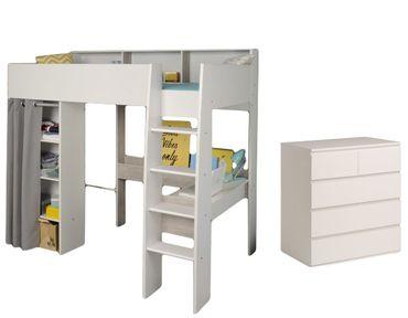 Hochbett Taylor Parisot weiß / grau inklusive Schreibtisch, Kommode und vieler Regalfächer