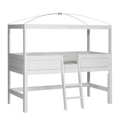 Himmel-Hochbett Freebird 90*200 cm whitewash LIFETIME inklusive Betthimmel-Vorhang und Beleuchtung