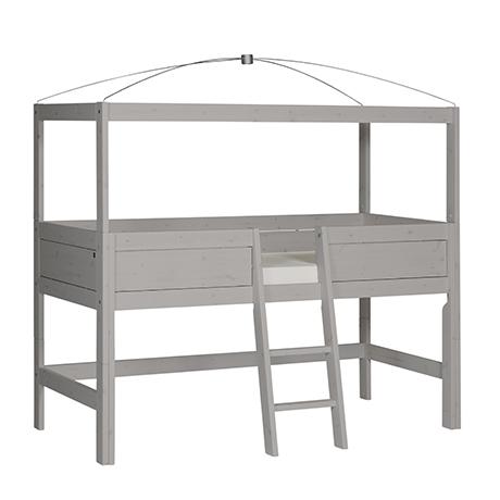 Himmel-Hochbett Freebird 90*200 cm grau LIFETIME inklusive Betthimmel-Vorhang und Beleuchtung