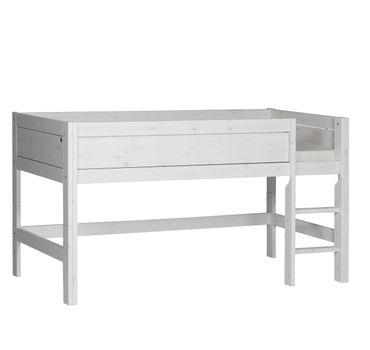 Hochbett Michi 90*200 cm whitewash LIFETIME inklusive Rollrost