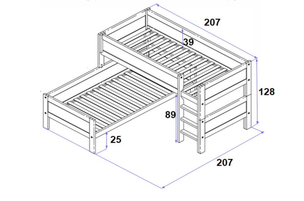 Ecketagenbett Lukas 90*200 cm grau LIFETIME inklusive Rollrost