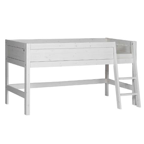 Hochbett Marcio 90*200 cm whitewash LIFETIME inklusive Rollrost