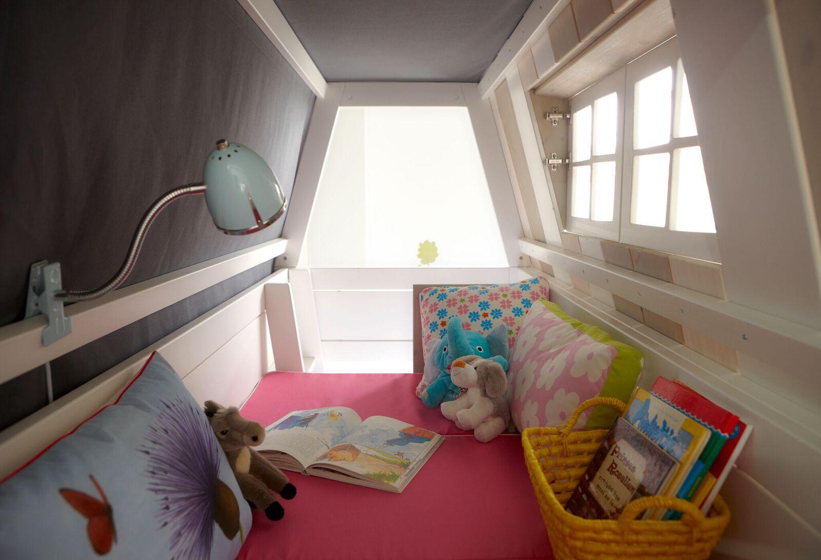 Abenteuerbett Hangout 2 90*200 cm whitewash LIFETIME inklusive Rollrost