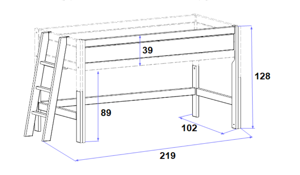 Hochbett Bela 90*200 cm grau LIFETIME inklusive Rollrost