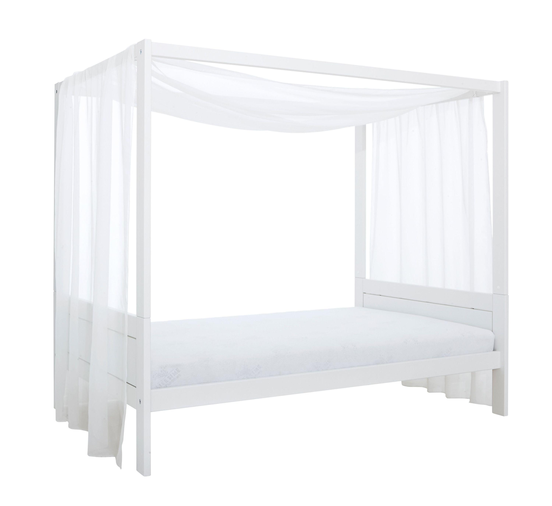 Himmelbett Dreamcatcher 120*200 cm weiß lackiert mit MDF-Füllung LIFETIME inklusive Lattenrost