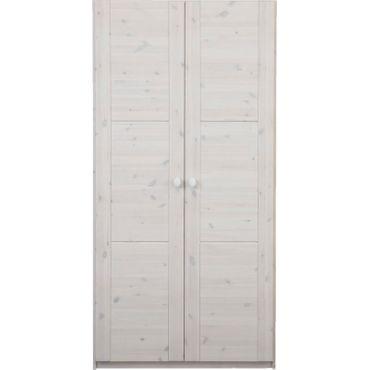 Kleiderschrank Tobi whitewash 2 Türen B 100 cm Kiefer-Massiv