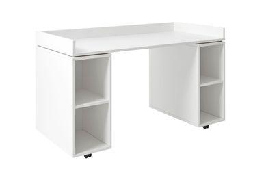 Schreibtisch Jannis 133*64,5 cm weiß auf Rollen mit Regalmodulen