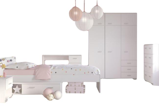 Kinderzimmer Galaxy Parisot 5-teilig Weiß inkl. Bett Kleiderschrank ...