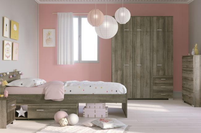 kinderzimmer galaxy parisot 4 teilig braun inkl bett kleiderschrank nachtkommode kommode. Black Bedroom Furniture Sets. Home Design Ideas