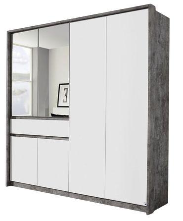 Drehtürenschrank Jona weiß / stone grey 6 Türen B 186 cm