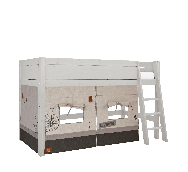 Hochbett Adventure 90*200 cm whitewash LIFETIME inklusive Rollrost