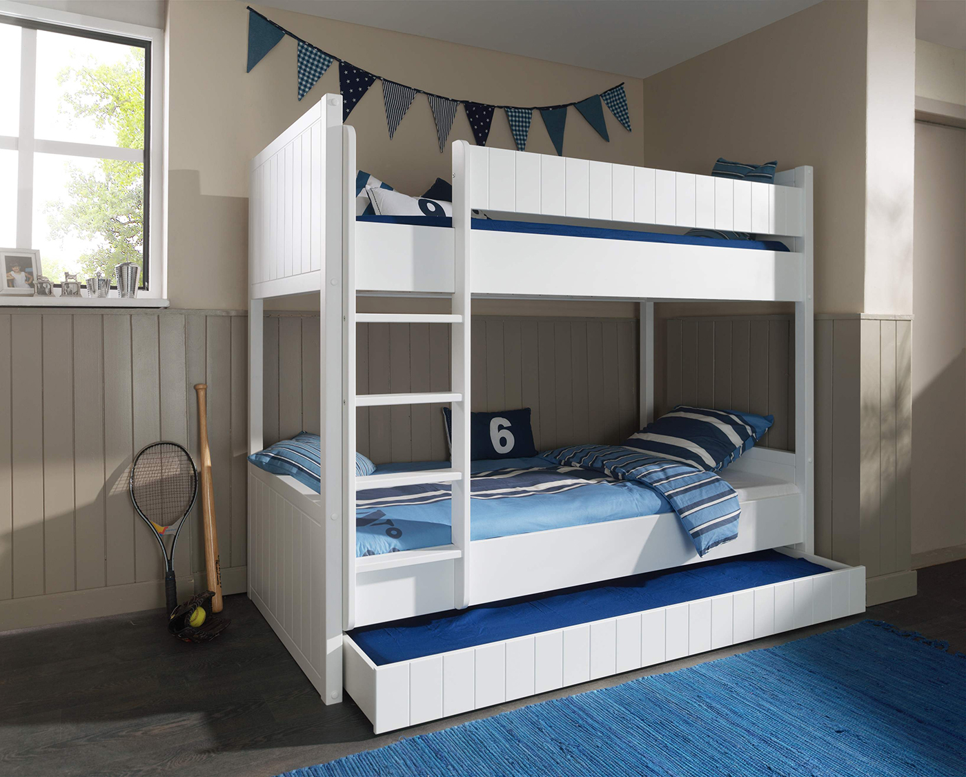 Etagenbett Romy weiß inklusive Bettkasten