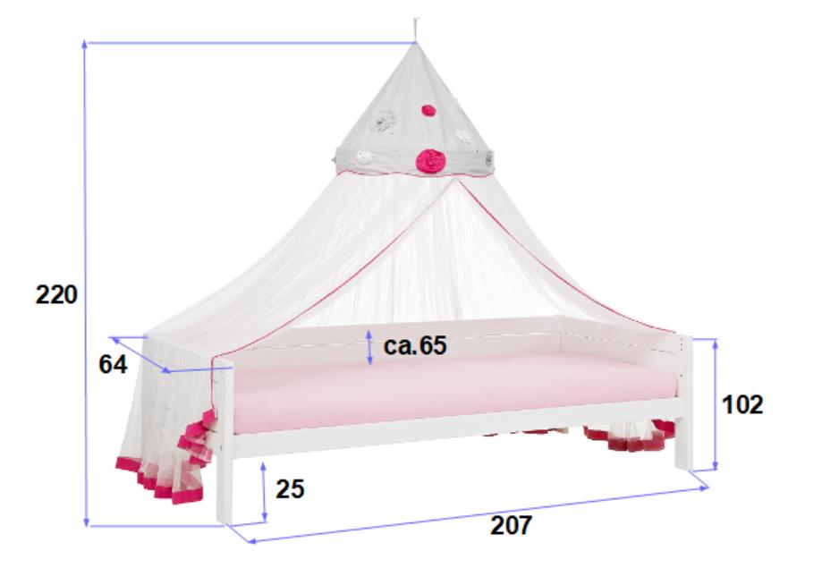 Himmelbett Ibiza Bloom 90*200 cm weiß lackiert mit MDF-Füllung LIFETIME inklusive Rollrost