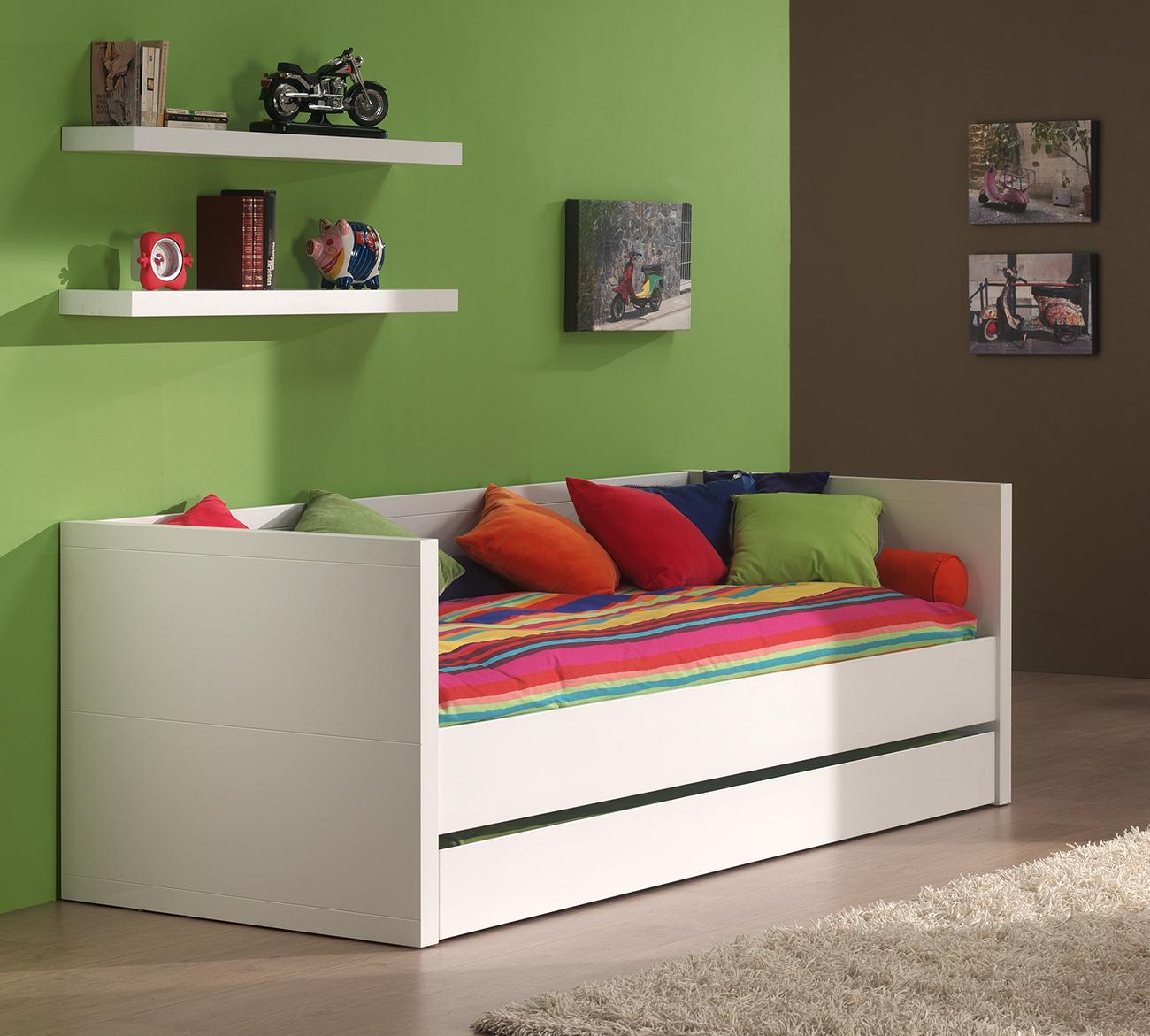 Einzelbett Mina 90*200 cm weiß inkl. Lattenrahmen & Bettkasten