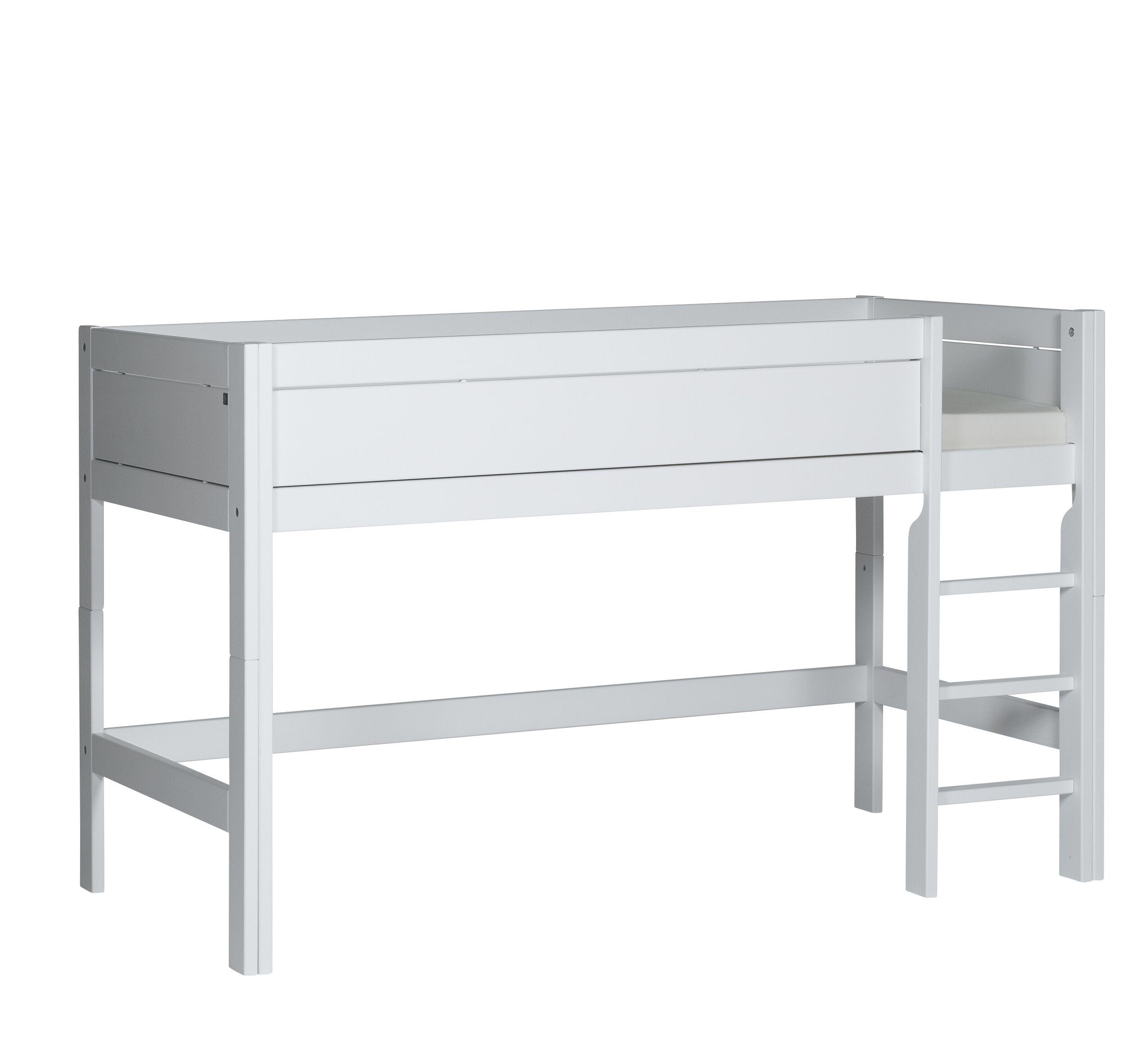 Hochbett Ella 90*200 cm weiß lackiert mit MDF-Füllung LIFETIME inklusive Rollrost