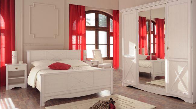 Jugendzimmer Marion 4 Parisot 4-teilig weiß inkl Bett + 2 Nachtkommoden + Kleiderschrank