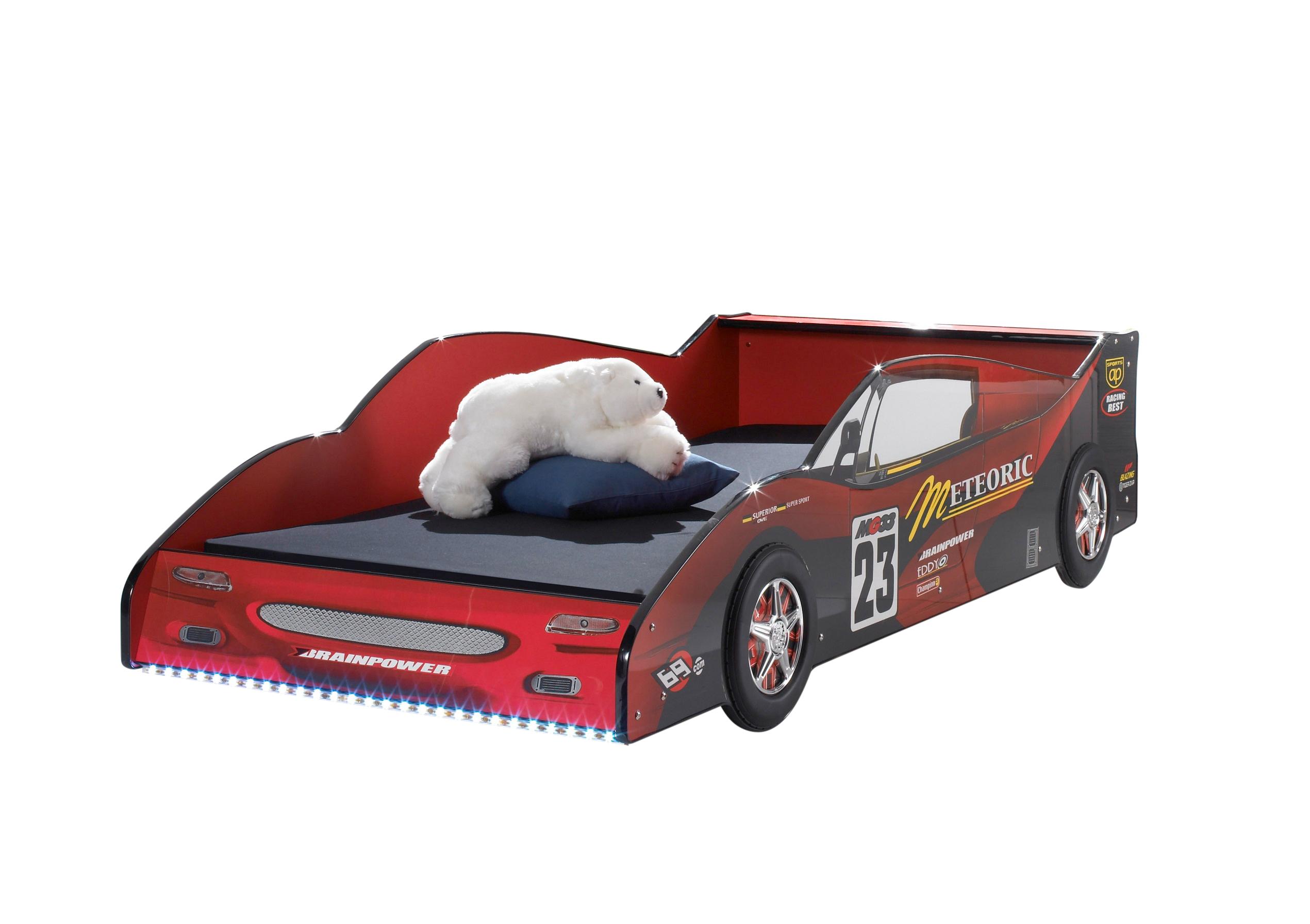 Autobett Racer 90*200 cm Rot Hochglanz mit MDF-Füllung inklusive LED-Beleuchtung