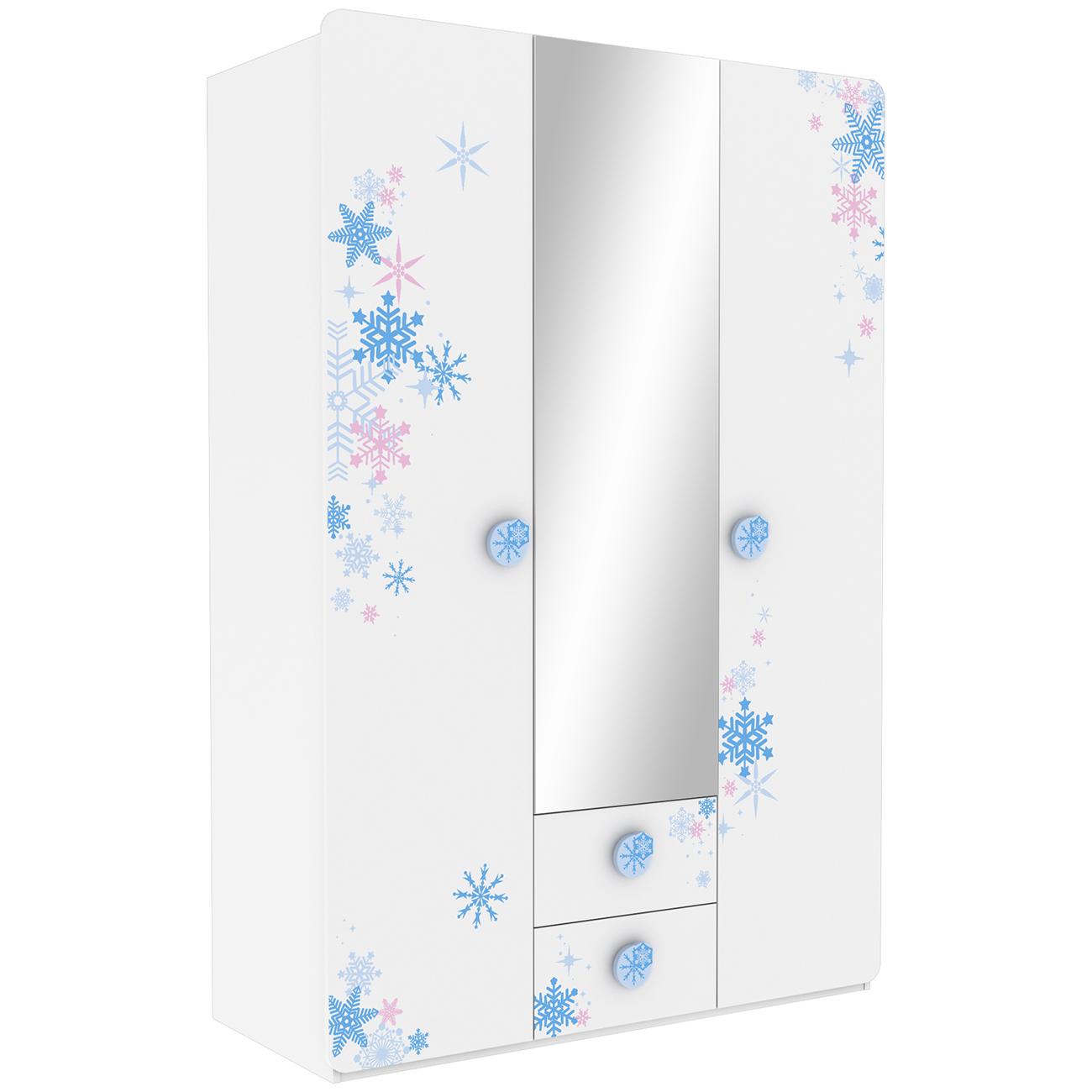 Kleiderschrank Eiskönigin Sterne Snow Weiß / Blau 3 Türen B 133 cm