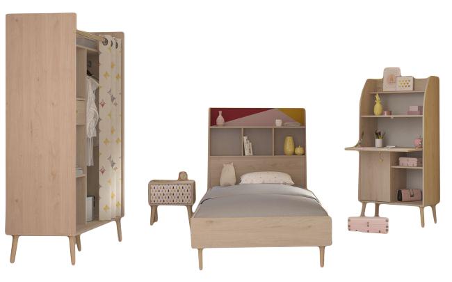 Kinderzimmer Anna 5 Parisot 4-teilig beige / Muster bunt