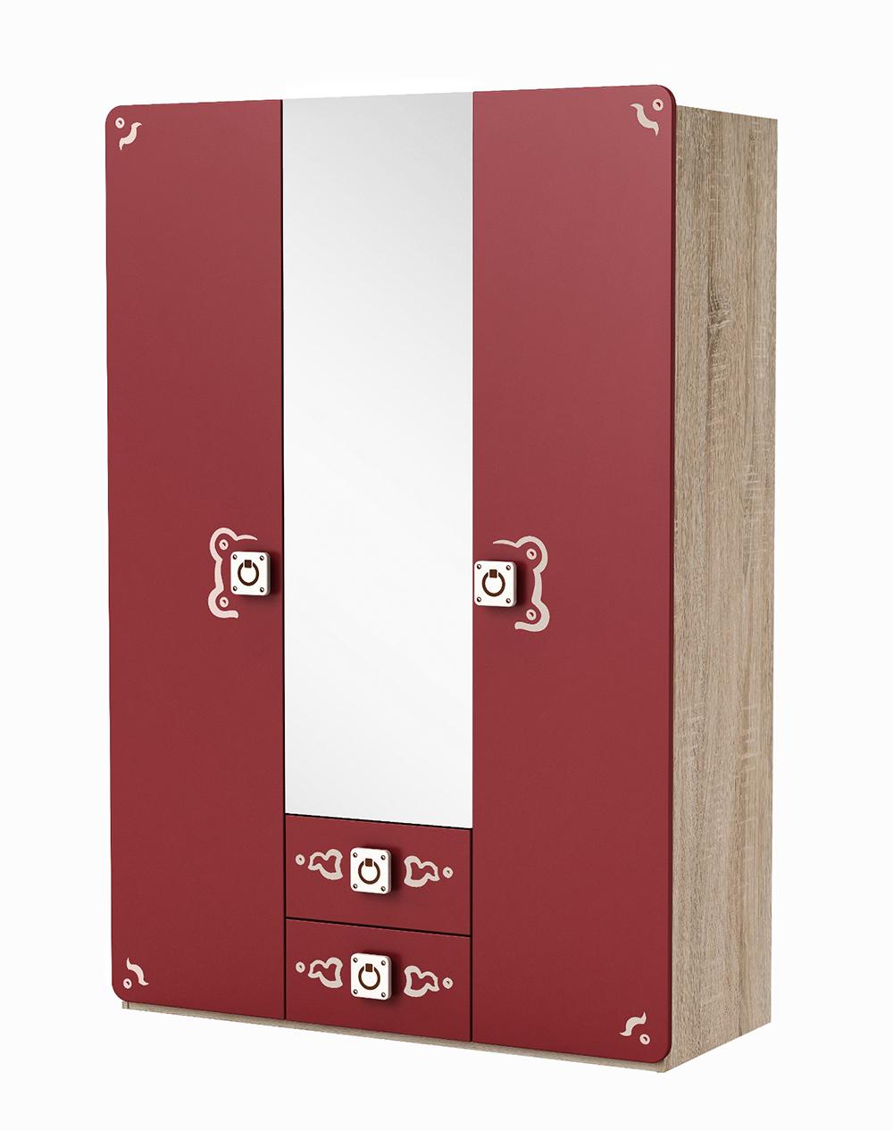 Kleiderschrank Seemann Rot / Grau 3 Türen B 133 cm