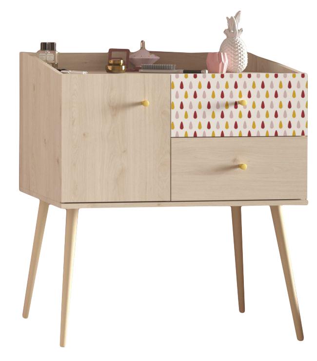 Kommode Anna 13 Parisot beige / Muster bunt B 81 cm