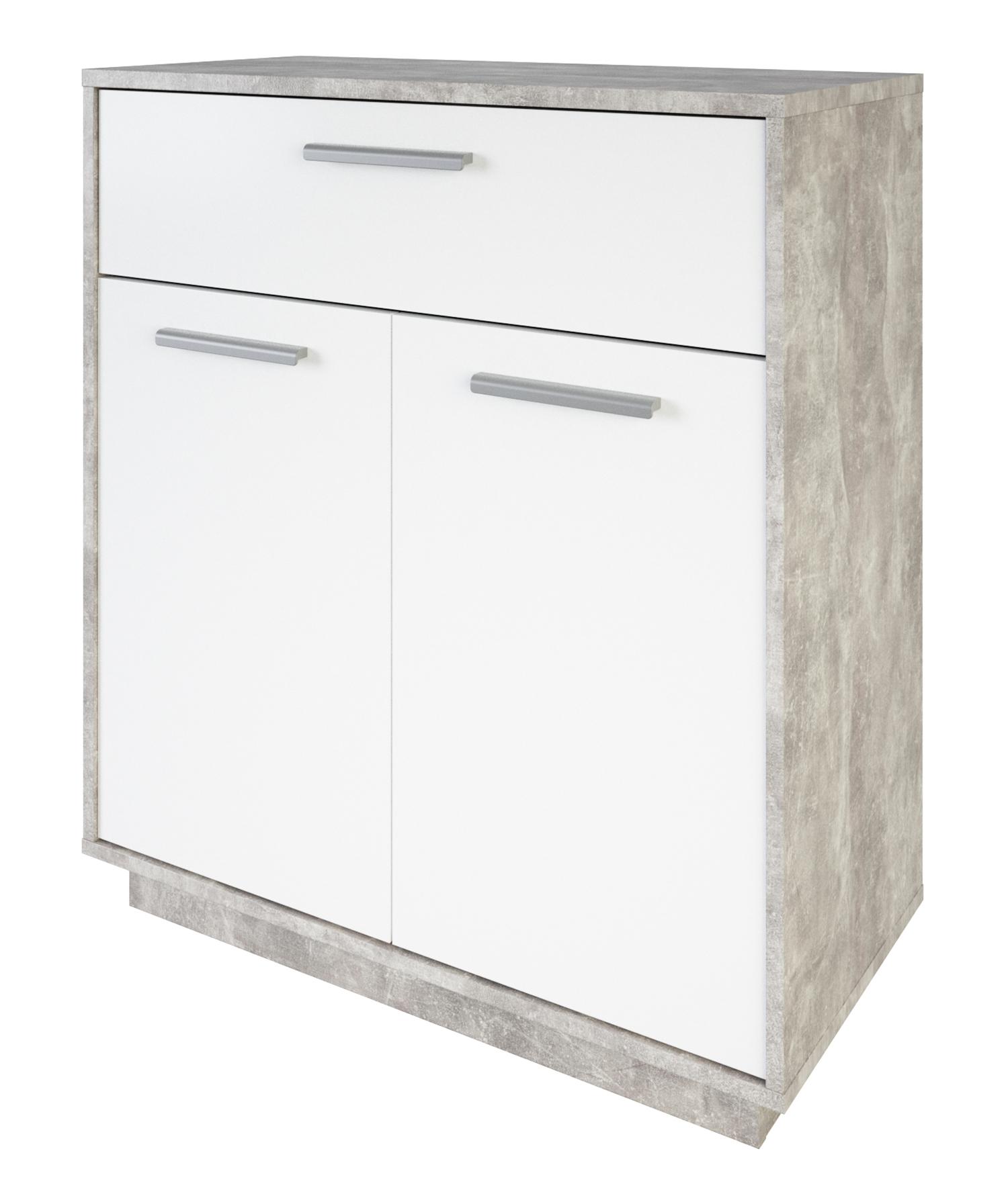 Kommode Ivo 2 weiß / grau