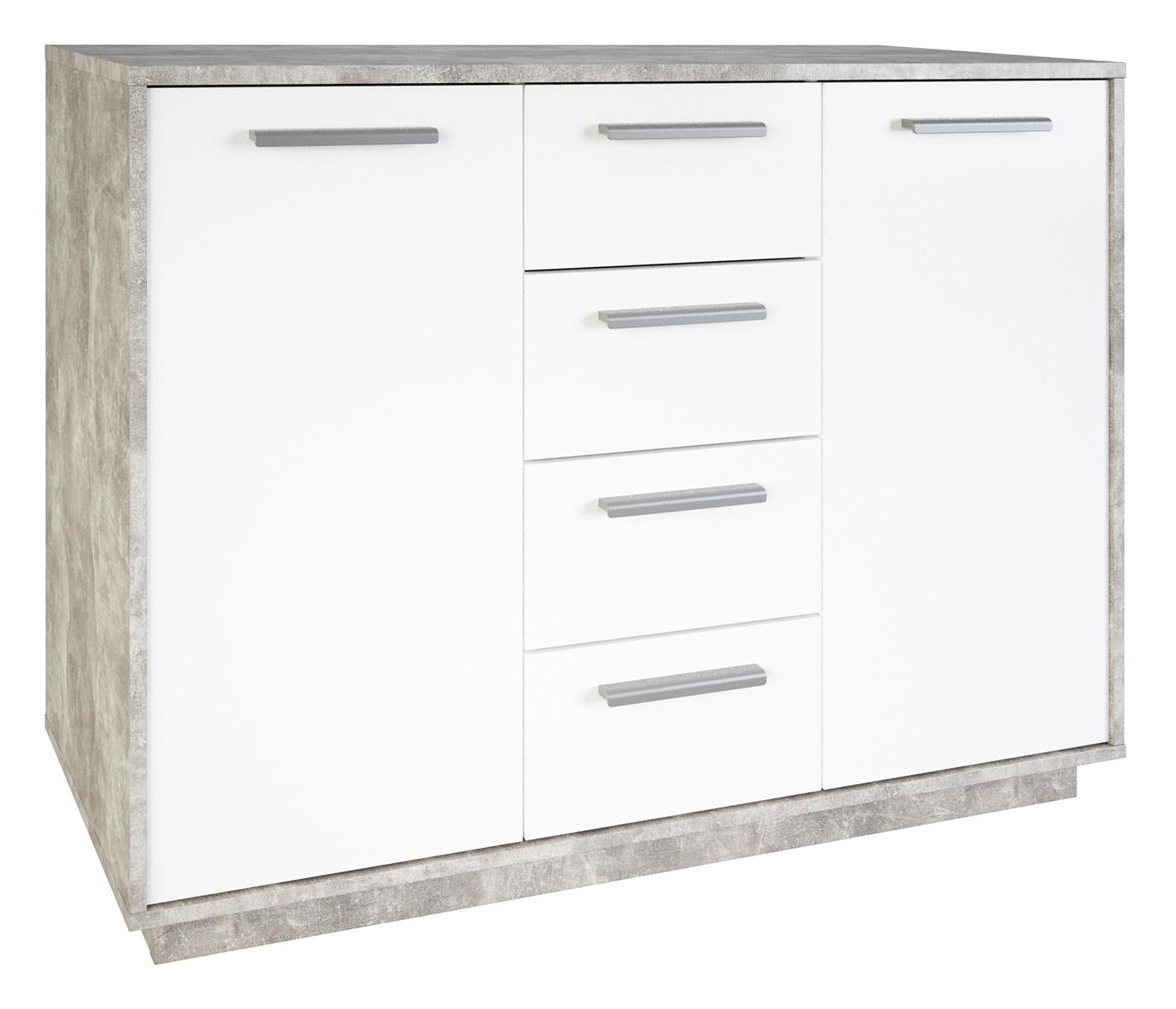 Kommode Ivo 3 weiß / grau