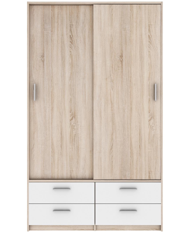 Schiebetürenschrank Cyril Grau / Weiß 2 Türen B 120 cm