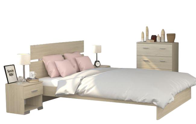 Jugendzimmer Galaxy 525 Parisot 4-teilig beige inkl Kommode + Bett + 2 Nachtkommoden