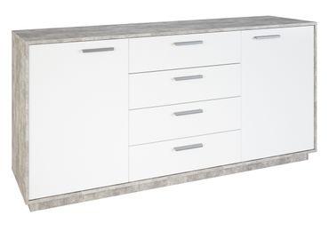 Kommode Ivo 5 Weiß / Grau