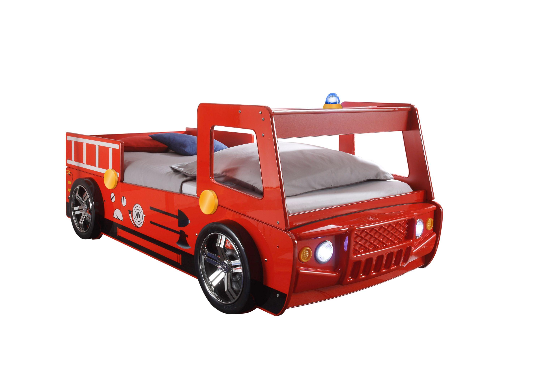 Autobett Löschi 90*200 cm Rot Hochglanz Holz MDF inklusive LED-Beleuchtung
