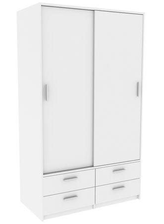 Schiebetürenschrank Cyril Weiß 2 Türen B 120 cm