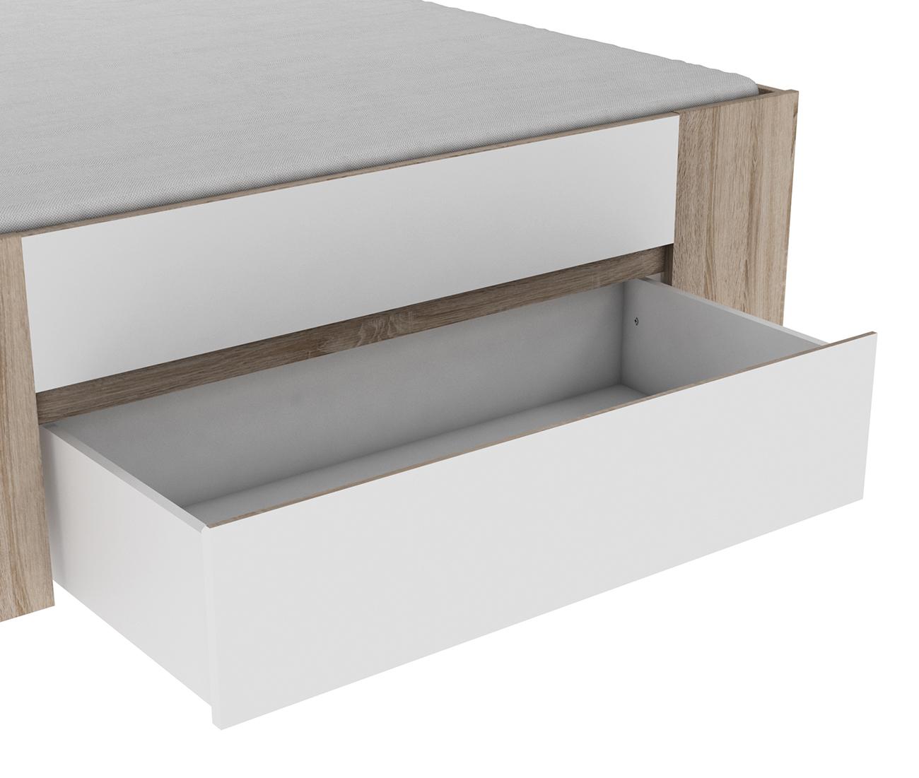 Funktionsbett Mailo 140*200 cm grau / weiß
