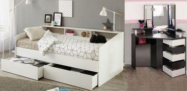 Kinderzimmer Sleep 32 Parisot weiß / schwarz Bett, 2 Bettschubkästen, Eck - Schminktisch