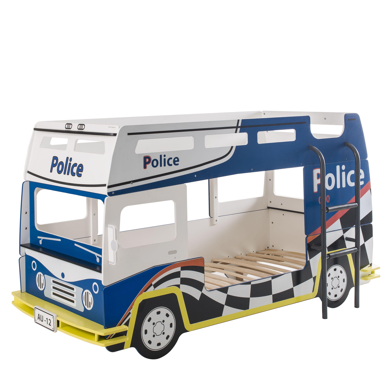 Etagenbett Polizei 90*200 cm Blau / Weiß Holz MDF