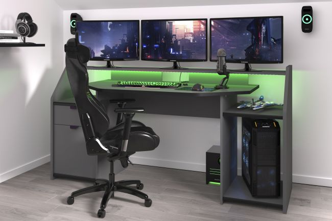Gamer Tisch Set up Parisot grau / schwarz