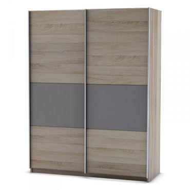 Schwebetürenschrank Abiola Grau 2 Türen B 126 cm